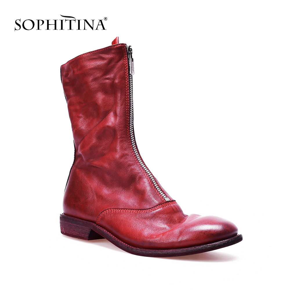 SOPHITINA Genuine Leather Boots Autumn Fashion Casual Women Simple Style Ankle Shoes With Zipper Handmade High Quality Boots M73 bacia genuine leather boots short plush women shoes black simple style ankle boots with zipper handmade high quality shoes vd021