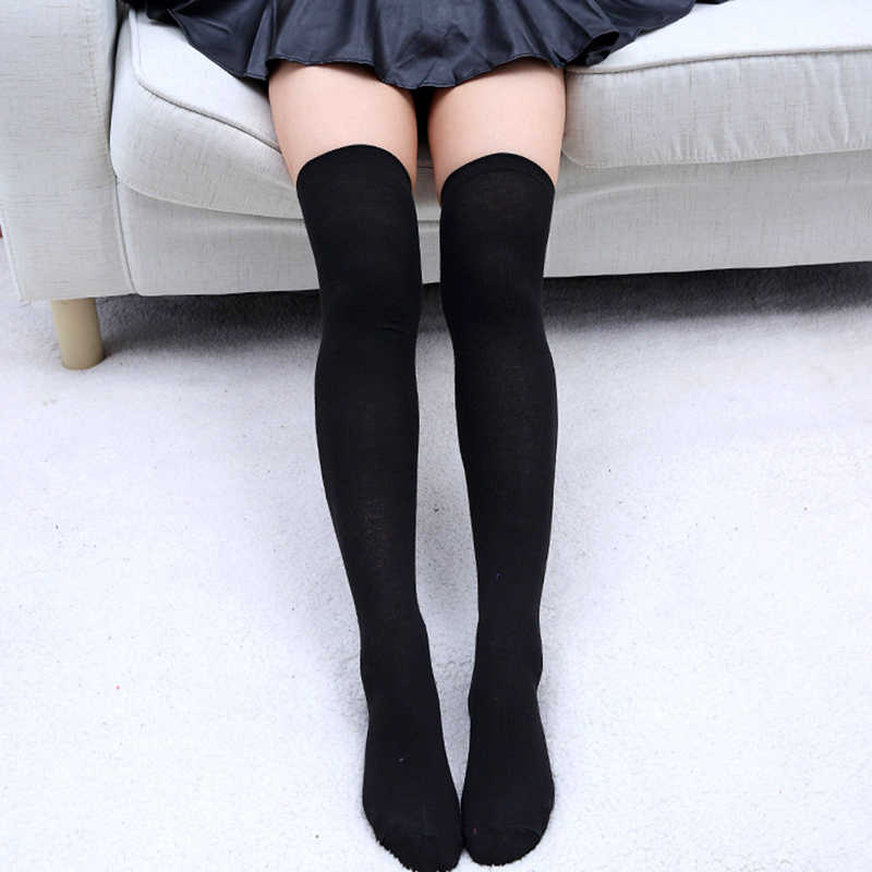 dfef21955fe52 Detail Feedback Questions about Fashion Sexy Cotton Over The Knee Socks  Thigh High Stocking Solid Color Black Grey White 2018 Women's Stockings  Knee High ...