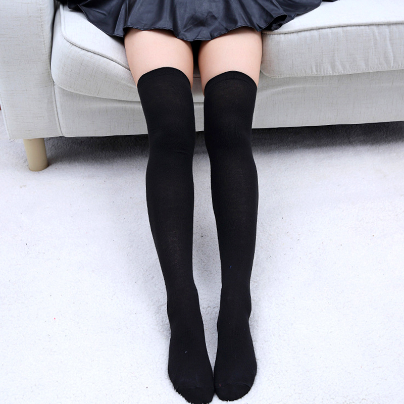 Fashion Sexy Cotton Over The Knee Socks Thigh High Stocking Solid Color Black Grey White 2020 Women's Stockings Knee High Socks