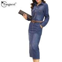 TANGNEST Women Dress 2016 Spring Autumn Pockets Turn Down Collar Long Sleeve Denim OL Office Knee
