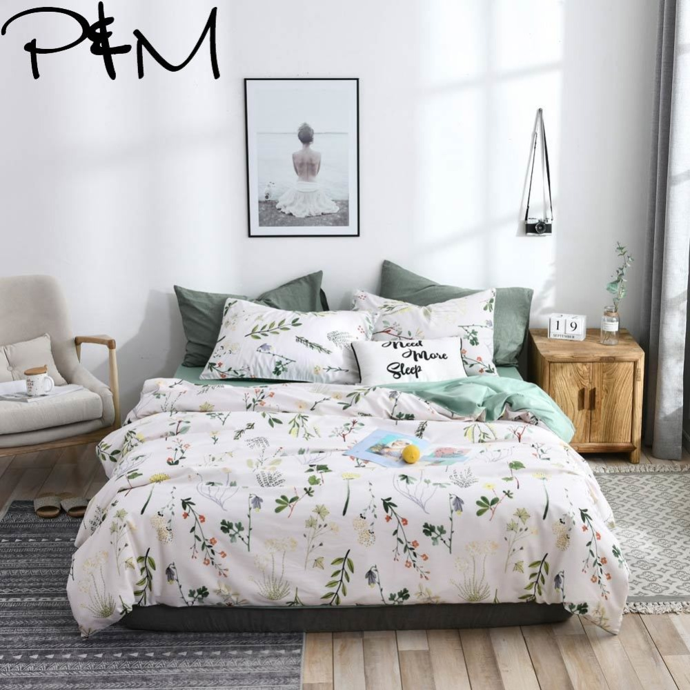 Papa Mima Branches and flower print bedding sets Cotton bedlinens Twin Queen King size flat sheet