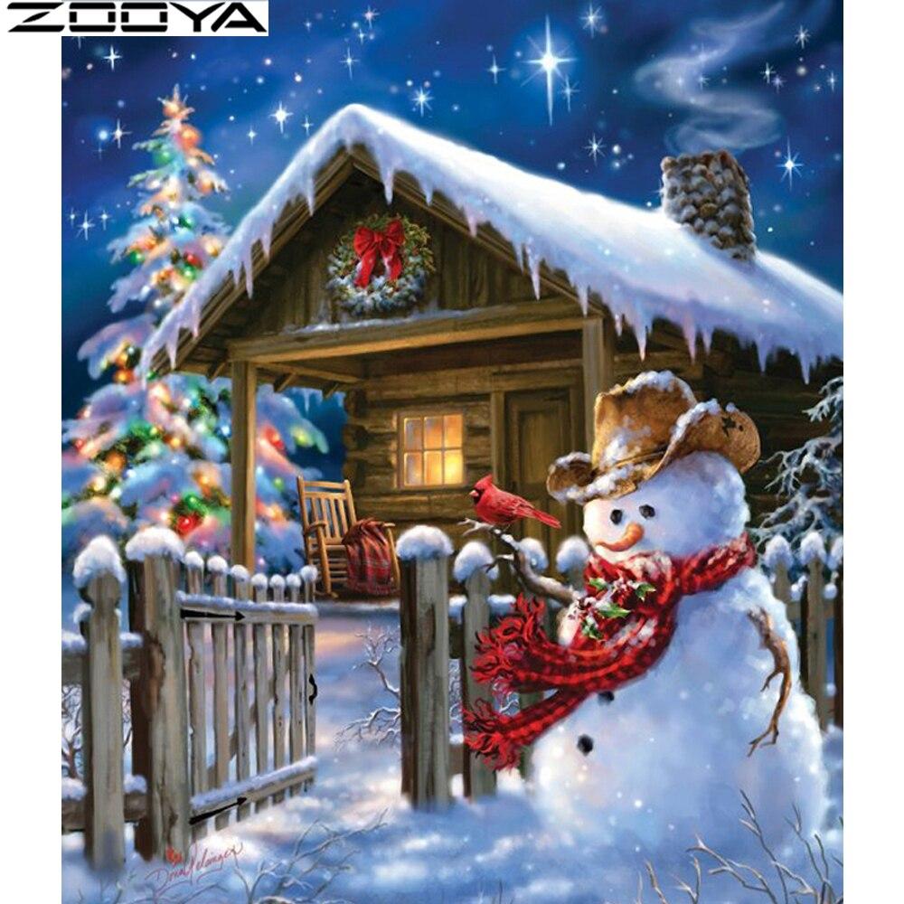Christmas house painting - Zooya Diy Diamond Painting Cross Stitch Night Of Christmas Full Diamond Embroidery Snow House Diamond Mosaic