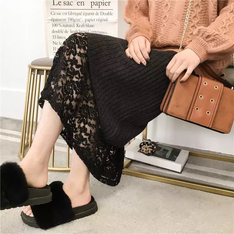 2018 spring maternity knit eyelash lace detail long skirts for pregnant women maternity ankle length pregnancy pregnant skirts