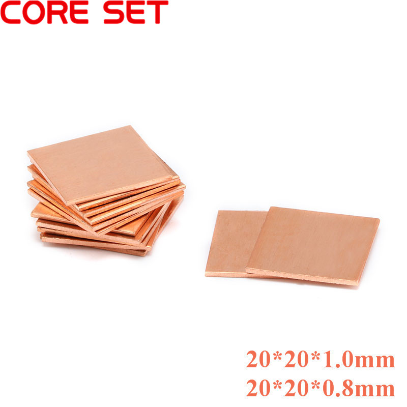 5pcs/lots Copper Sheet Shim Piece Heat Sink 20 * 20mm*(0.8/1mm Optional) Thermal Pad For Laptop GPU CPU