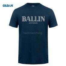 GILDAN 2017 Summer Fashion Men's Clothing O-Neck Ballin Amsterdam Graphic Unisex T-shirt Print Men Short Sleeve T Shirt