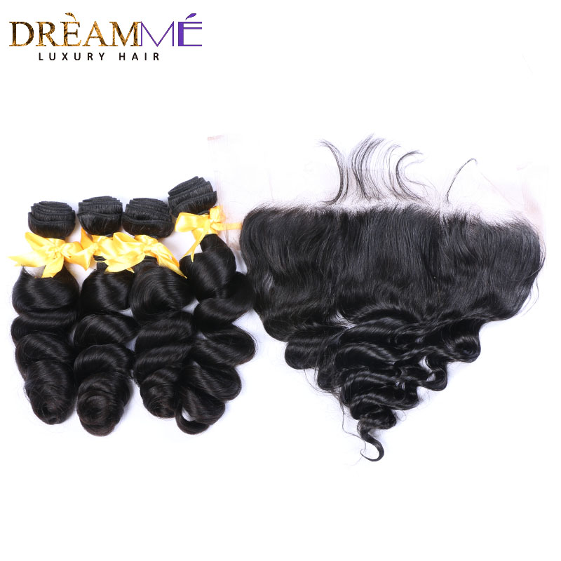 3 Bundles Peruvian Loose Wave With Lace Frontal 100 Human Hair Pre Plucked 13X 4 Lace