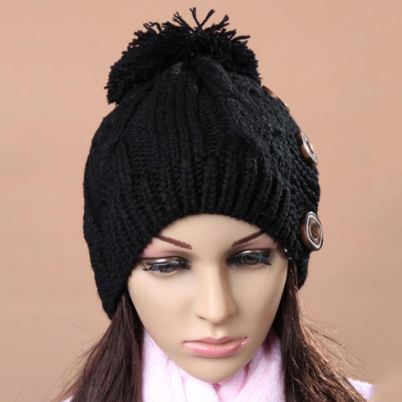 2Pcs Winter Warm Pompoms Cap Women's Knitted Hats for Women Beanies Bonnet Femme Casquette Ski Slouchy Hat Women Baggy Beanies