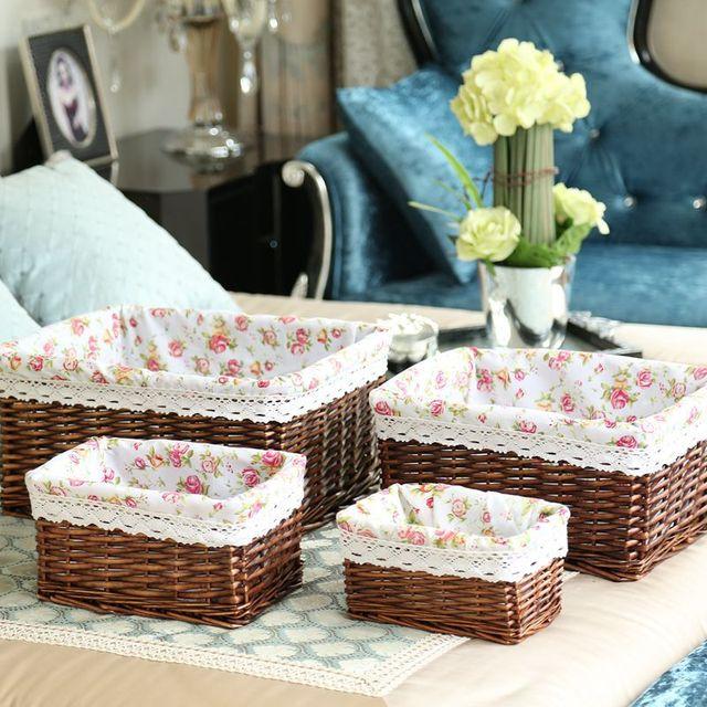 household willow storage basket rattan storage basket large & small, wicker basket organizer, panier a linge,