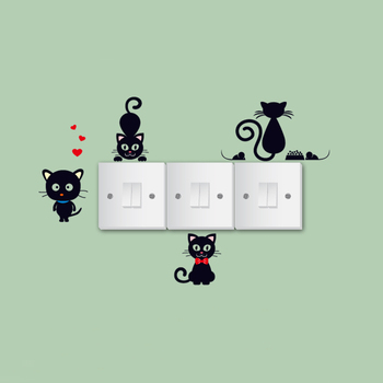 Sale Funny Love Cats Black Wall Sticker 3D Switch Wallpaper Closestool Decals Ornaments Accessories