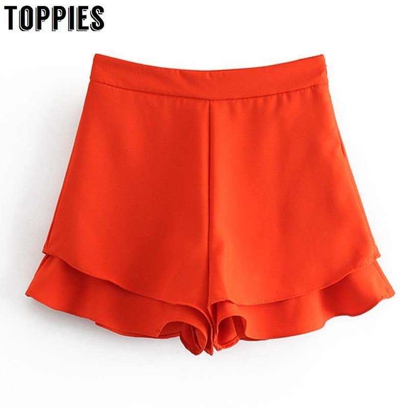 2019 Summer Orange Hot   Shorts   High Waist Cascading Ruffles   Shorts   Skirts Womens Solid Color Skorts