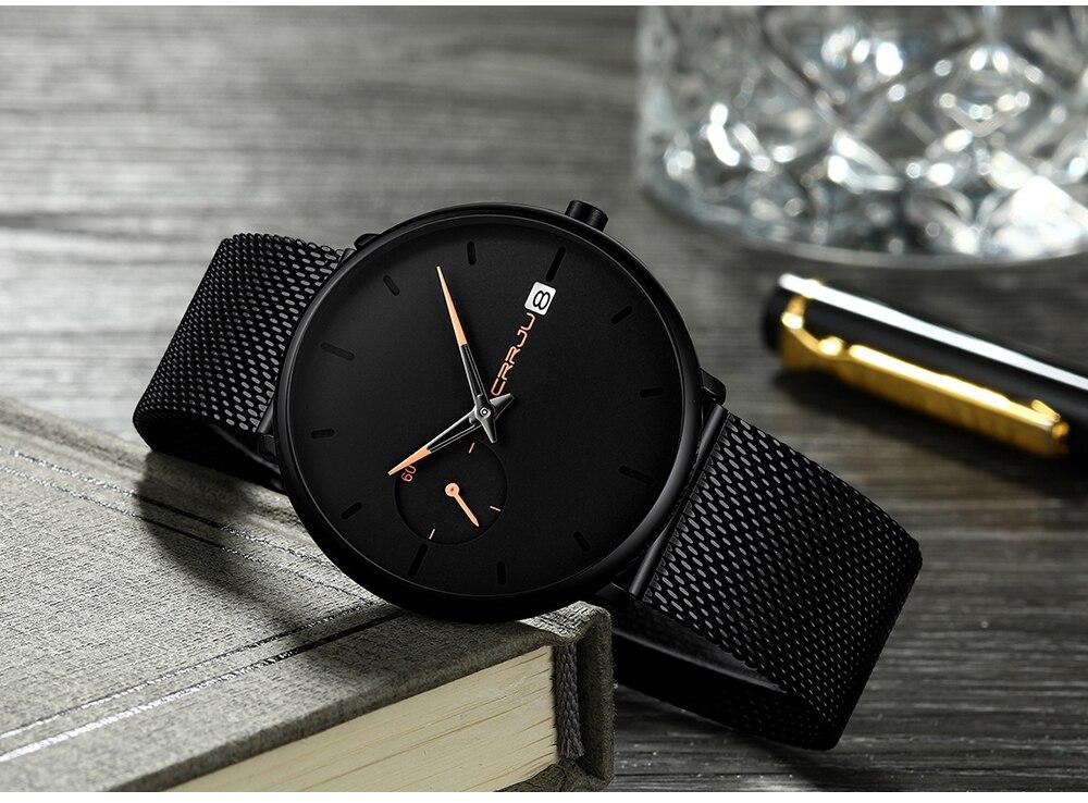 Crrju Sports Date Mens Watches Top Brand Luxury Waterproof Sport Watch Men Ultra Thin Dial Quartz Watch Casual Relogio Masculino 21