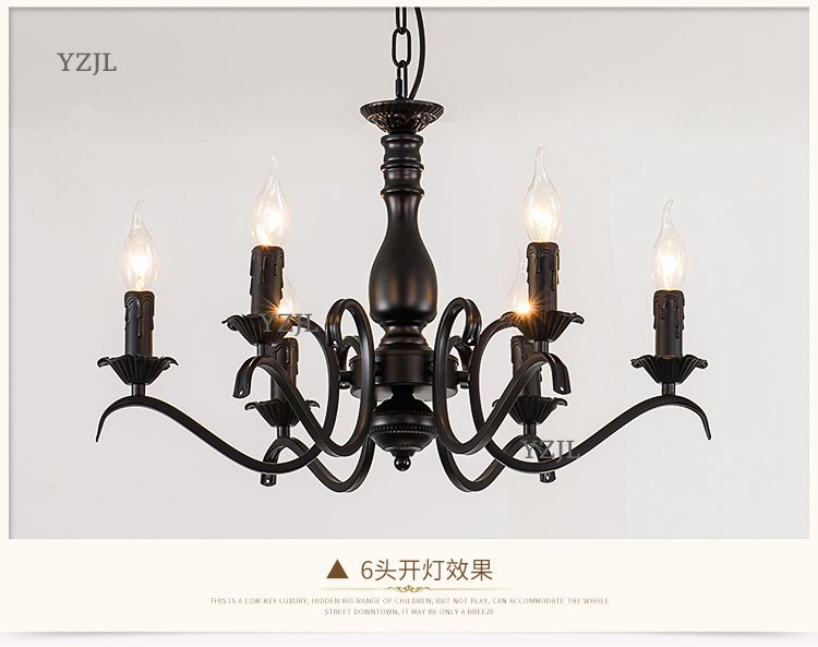 Iron Candle lamp chandelier European Living room restaurant American modern bedroom simple warm shop bar retro chandelier lamp continental iron candle chandelier bedroom garden bar restaurant lights retro clothing store america