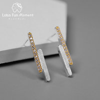 Lotus Fun Moment Real 925 Sterling Silver Designer Fashion Jewelry Creative Minimalist Parallel Lines Stud Earrings for Women
