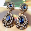 Brand Blue Rhinestone Earrings Brincos Grandes Collar Women African Beads Jewelry Vintage Earrings Womans Coral Pendientes Vaz