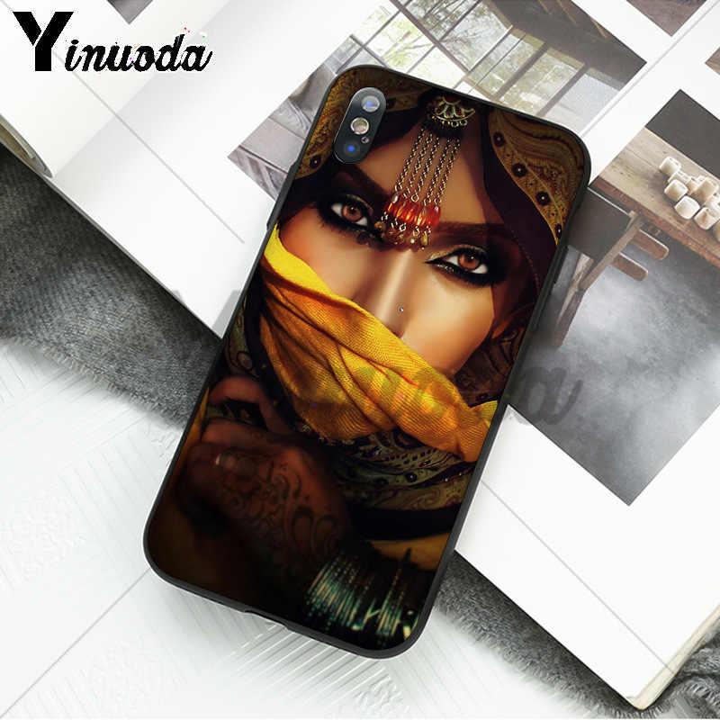 Yinuoda アラブセクシーなベール女性目 TPU 黒電話ケース iphone 8 7 6 6S プラス 5 5S 、 SE XR X XS 最大 Coque シェル