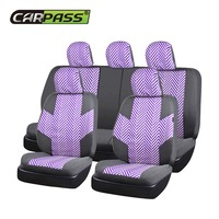 Car Pass Fashion Linen Car Seat Covers Universal Front Rear Auto Full Seat Protector For Corolla
