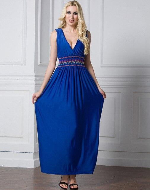 9a2676b63d27 Adogirl 2018 nuevos tamaños más 3XL 7XL Sexy bohemio mujeres verano  vestidos largos Tallas grandes playa Azul estampado sin mangas cuello en V  ...