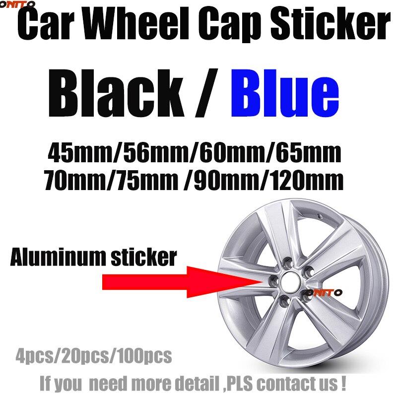Car Styling Aluminum Car Logo Emblem Decal Wheel Sticker Label Covers Black/Blue 45mm/56mm/60mm/65mm/70mm/75mm/90mm/120mm Badge Car Stickers     - title=