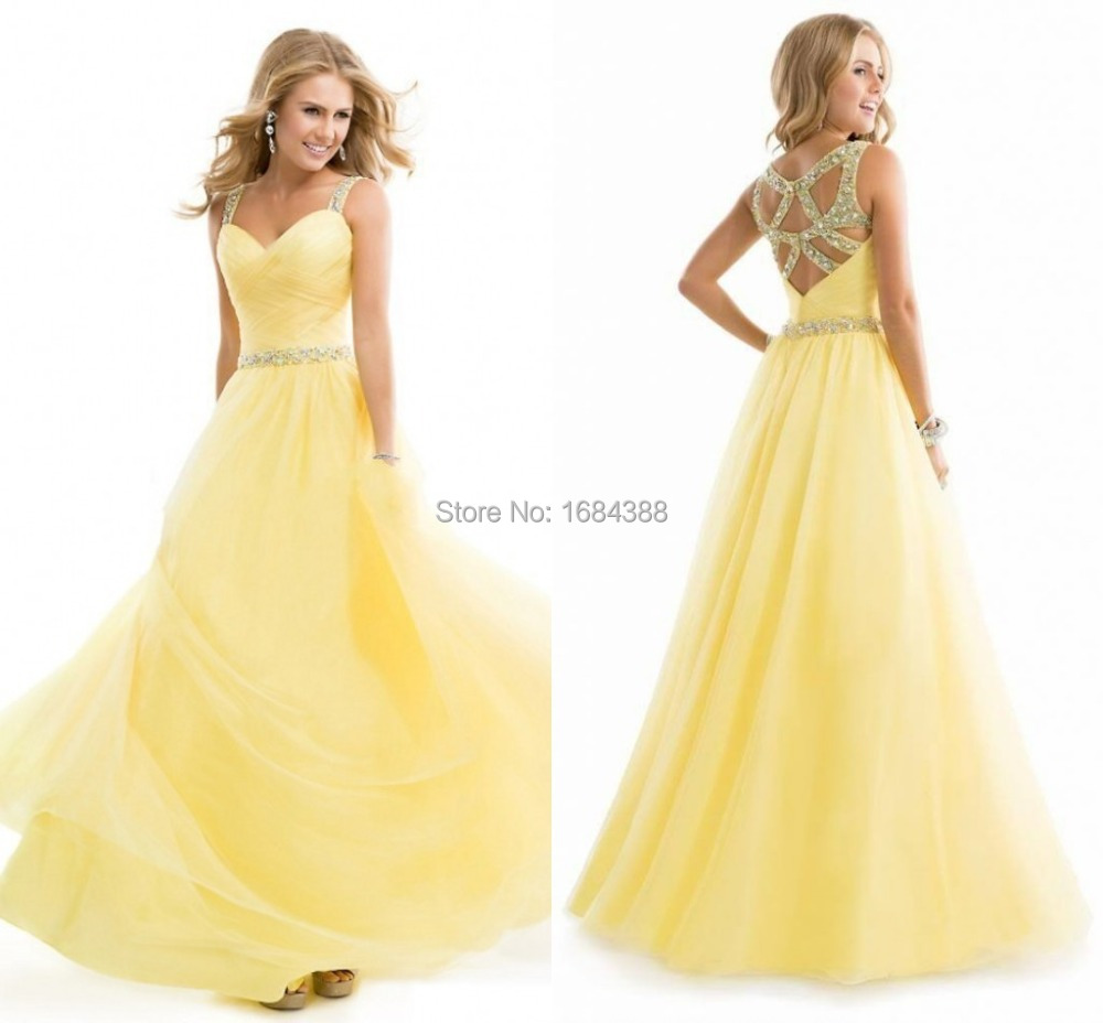 Amazing Yellow Prom Dresses Hot Sale Cheap Sheer Straps Beading ...