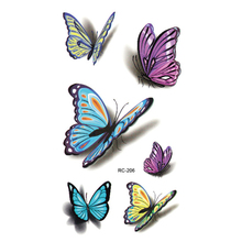 Colorful Butterfly 3D Temporary Tattoo Body Art Flash Tattoo Stickers 1PCS Waterproof Henna Tatoo Selfie Fake Tattoo Sticker