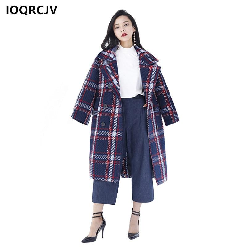 2018 Coat Winter Casaco Feminino Plaid Manteau Long Femme Fashion Women