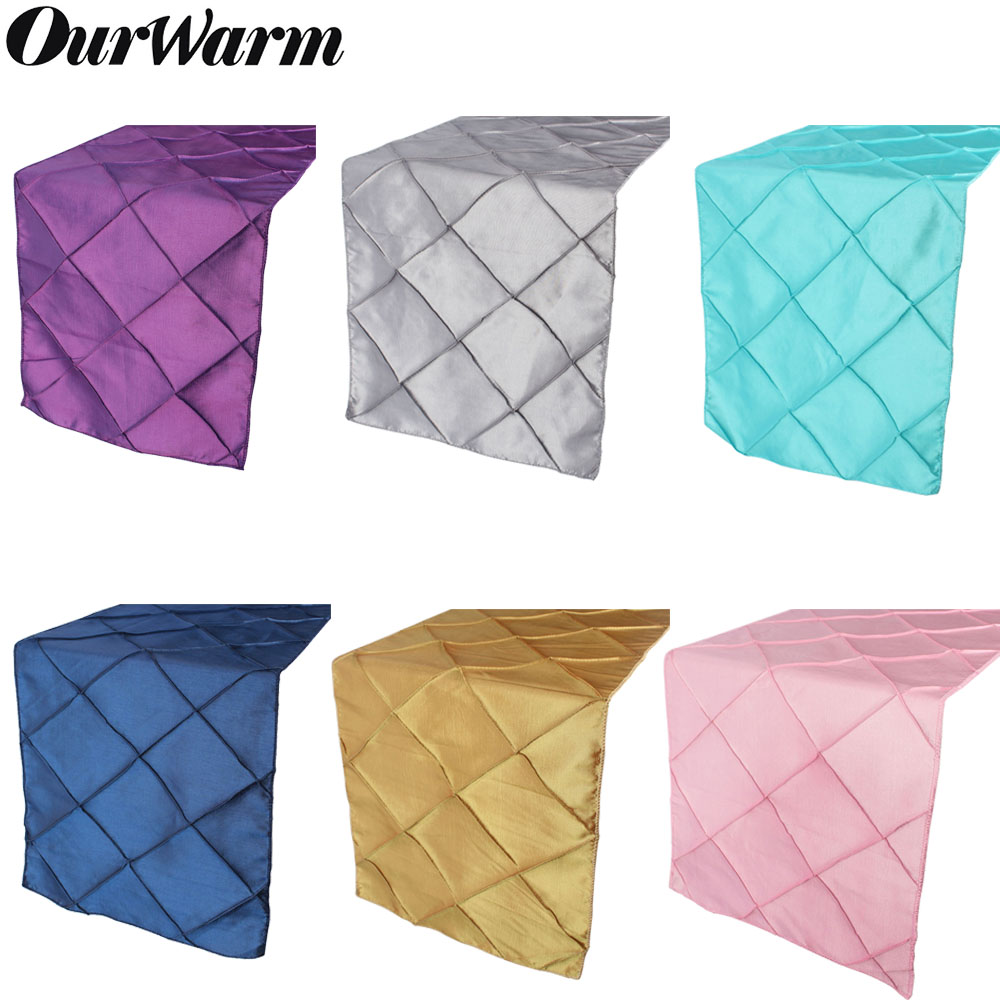 OurWarm Exquisite Satin Pintuck Table Runner For Wedding Party Banquet Decoration Elegant Tablecloth 30 X 275cm Home Decor