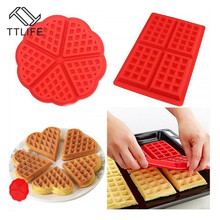 TTLIFE Rectangle and Love Heart Shape Waffle Muffin Silicone Mold Fondant Cake Pastry Baking Moulds Dessert Decorating Tool DIY
