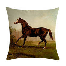 Various Cartoon Colorful Horse Cushion Cover Cotton Linen Thow Pillow Cover Cushion Case Seat Bedroom Decorative Pillows ZY273