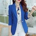 2017 Primavera Nueva Marca Casual chaqueta feminino Mujeres de Manga Larga Gira el Collar Abajo Delgado Con Bolsillos y Botones Blazers Chaqueta LQ331