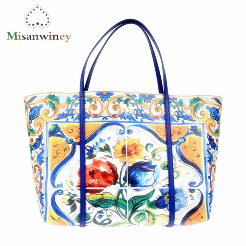 New Luxury Brand Fashion Printed Bulk Leather Bag Women Shopping Bag Ethnic Style Handbag Purse Lady Shoulder Messenger Bags Sac chic women s ethnic printed loose kimono
