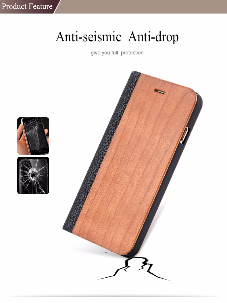 Vintage Genuine Bamboo Wood Flip Leathe Case For iPhone 6 6S Plus Real Rosewood Wooden Wallet Cover For iPhone 7 7 Plus Card Slot (3)