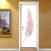 2 Pcs Set 3D Wall Stickers DIY Mural Bedroom Home Decor Poster PVC Colored Feathers Waterproof