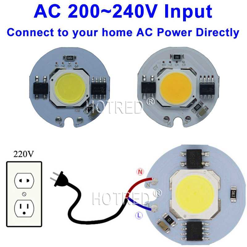 10pcs LED COB Chip light 9W 7W 5W 3W 220V 230V 240V Input Smart IC Driver Fit For DIY Cold Warm White LED Spotlight Floodlight