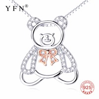 GNX12714 Hot Sale 925 Sterling Silver Necklace Sweet Lovely Bear Pendants Necklaces Cute Crystal Christmas Jewelry