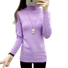 Autumn Winter Women Turtleneck Sweater Knitwear Slim Solid P