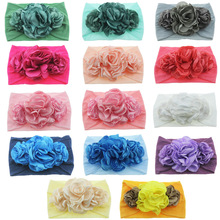 New Newborn Toddler Baby Girls Head Wrap Burning Flowers Knot Turban Headband Hair Accessories Birthday Gifts m mism new cute 3pcs lace butterfly baby headband fashion hair accessories for newborn wristband foot ring photography head wrap