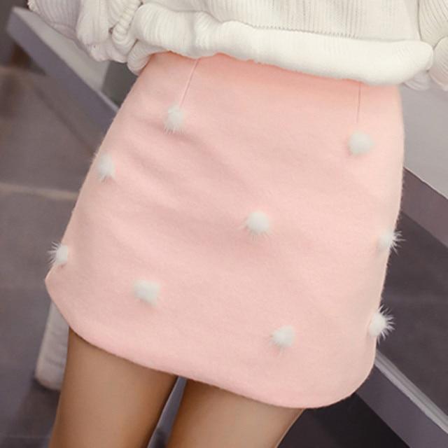 Mujeres Moda de Invierno Falda de La Alta Calidad Precio Barato Peludas Bolas de Lana Lindo de La Falda de Cintura Alta Una Línea de Mini Falda Envío Gratis