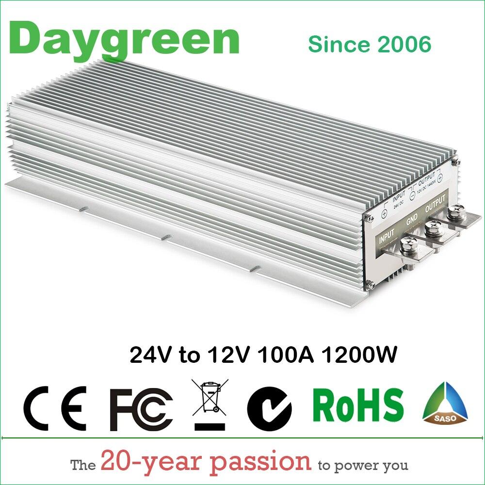 24 V à 12 V 100A DC DC convertisseur abaisseur 24VDC à 12VDC 100AMP régulateur de tension Module réducteur transformateur Buck résistant