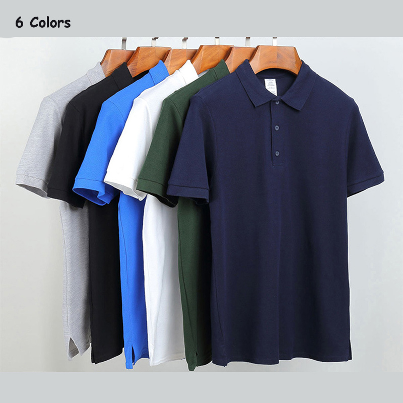 High quality 2018 Summer brand mens short sleeve cotton   polos   shirts solid color casual mens lapel   polos   fashion slim mens tops