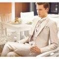 2016 Custom Made New Bege Vestido Padrinho de Casamento Do Noivo Combina Com Homem de Negócios Formais Blazers