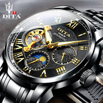 DITA Business Watch Men Stainless Waterproof  Moon Phase Luminous Top Brand Luxury Wristwatch Automatic Watch Montre Homme