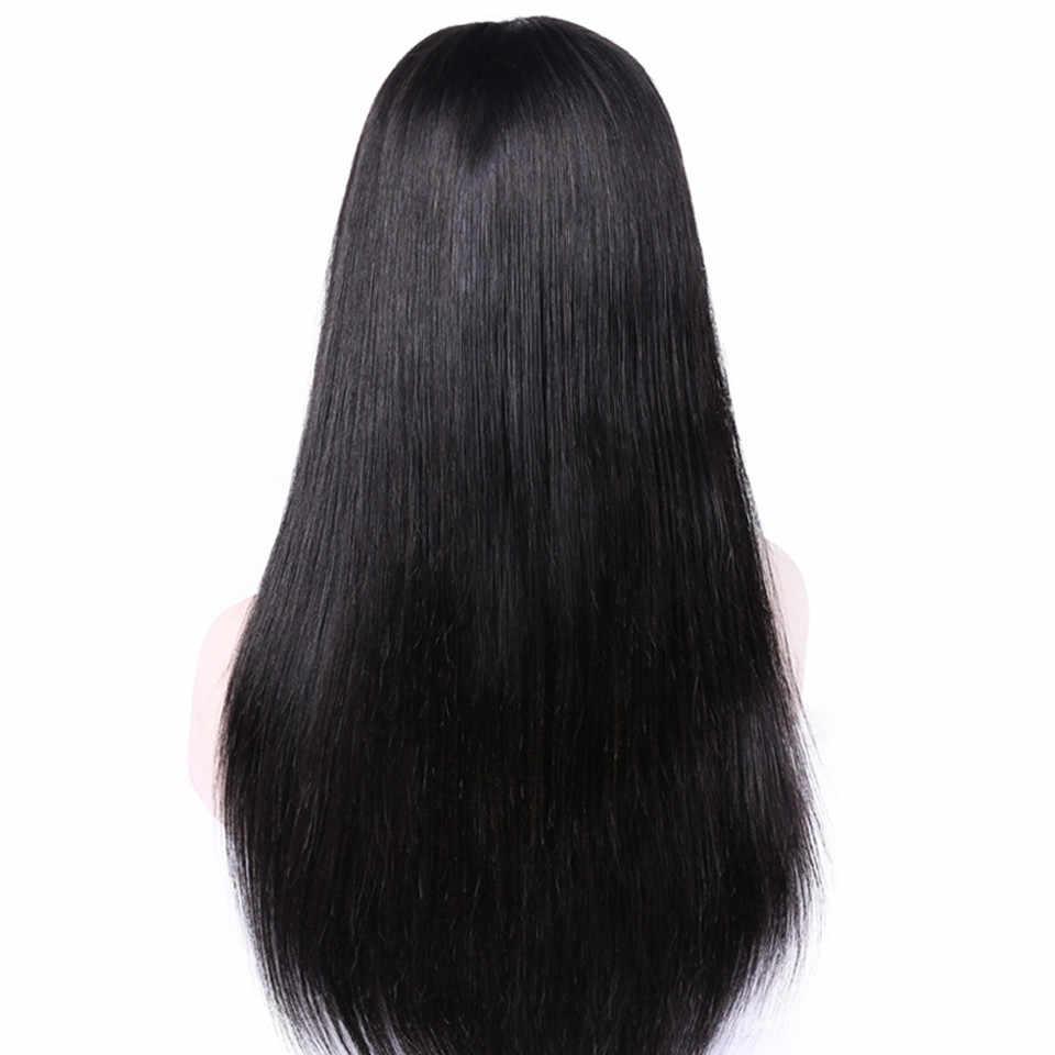 Rüya HD Tam sırma insan saçı Peruk Düz Bebek Saç Ile Brezilyalı Tam Dantel Peruk Dantel Frontal Kapatma Peruk Siyah Kadınlar Için