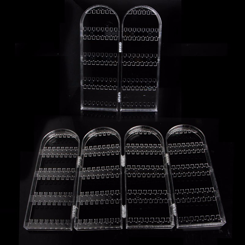 2/4 Doors Earring Jewelry Show Clear Plastic Display Rack Stand Organizer Holder