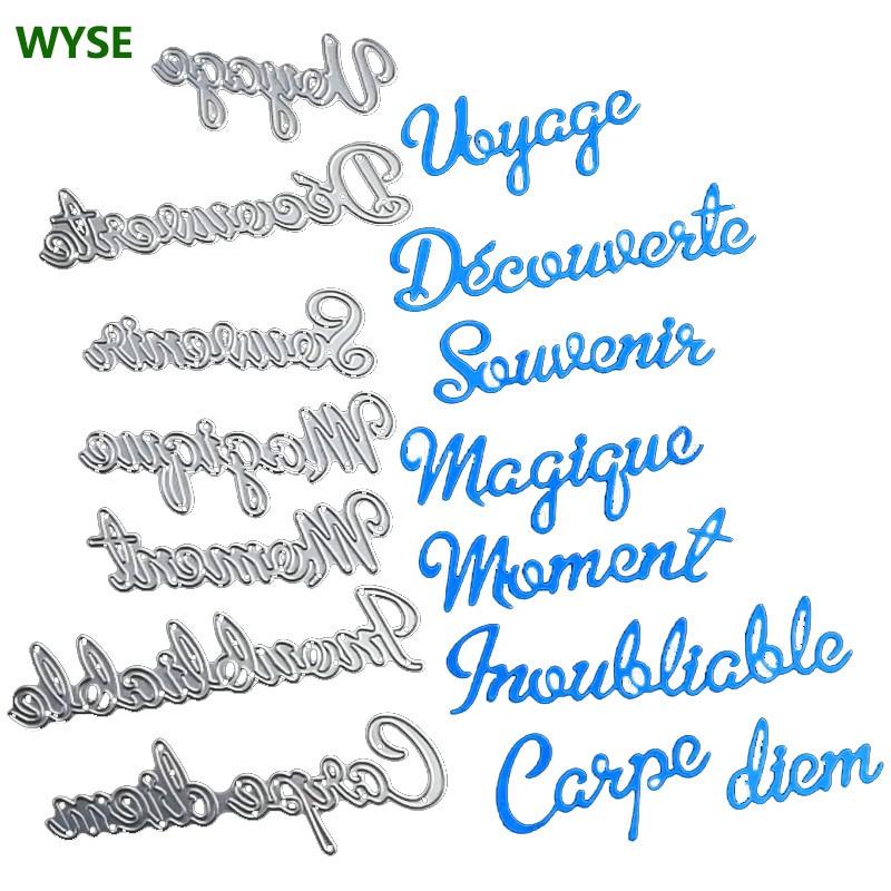 WYSE Metal Cutting Dies French Words Moment Voyage Sounvenir Die Scrapbooking letter Craft Die cut for DIY Card supplies