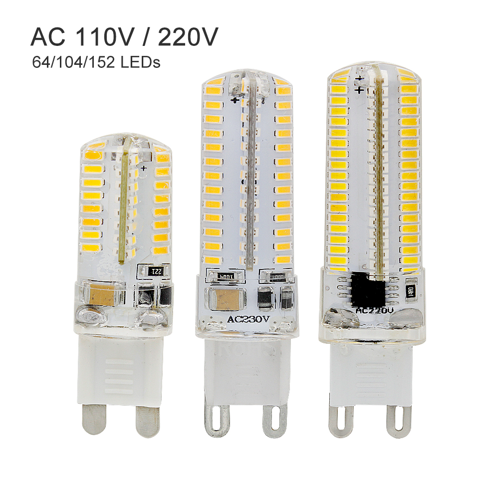 Dimmable G9 Led Light Bulb 152 104 64 LEDs Lamps 110V 130V 220V 230V Spotlight Bulbs 3014 SMD Sillcone Body 9w 12w 15w