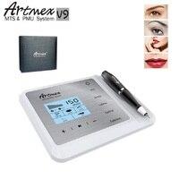 Новейшая модель; Постоянный тату машинка для макияжа Artmex V9 бровей губ Вращающаяся ручка МТС пму Системы с V9 игла для тату машинок