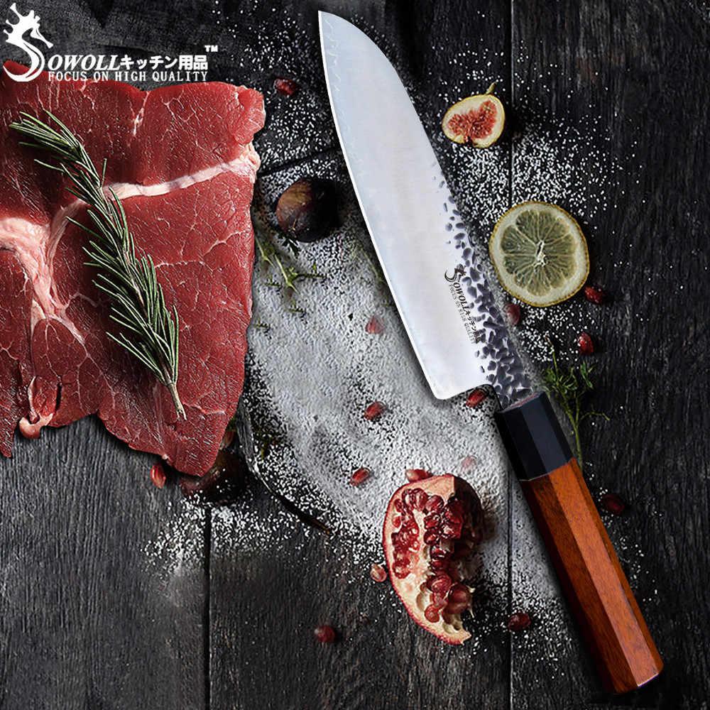 SOWOLL el yapımı şam mutfak bıçağı dövme yüksek karbon kaplı çelik doğrama japon aşçı bıçak Nakiri şef Cleaver bıçak