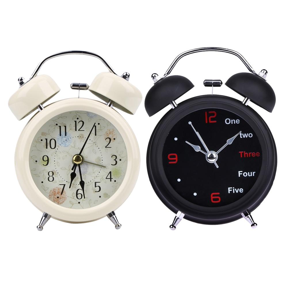 Mechanical Alarm Clock Retro Desktop Clock Round Metal Double Bell Table Clock Light Design Alarms Black White|clock light|mechanical alarm clock|alarm clock - title=