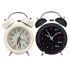 Mechanical Alarm Clock Retro Desktop Clock Round Metal Double Bell Table Clock Light Design Alarms Black White
