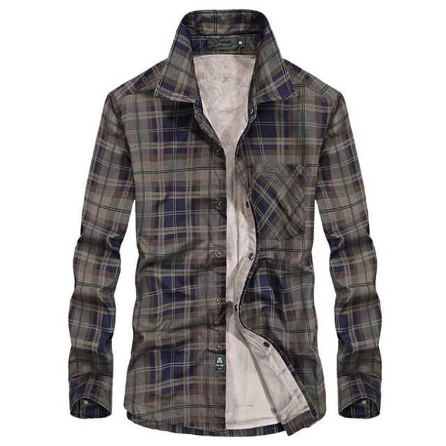 Brand Casual Fleece Shirts Men Winter Fashion Flannel Thick Warm Plaid Shirts Cotton Long Sleeve Business Shirts Chemise Homme